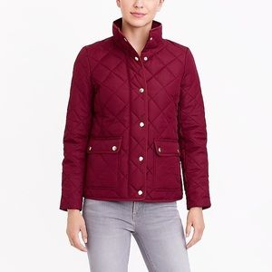 Jcrew Burgundy Quilted Jacket